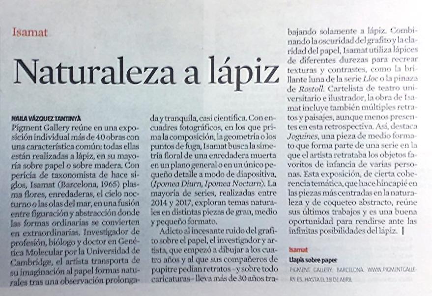 Recorte de prensa sobre Marcos Isamat en el periódico La Vanguardia.