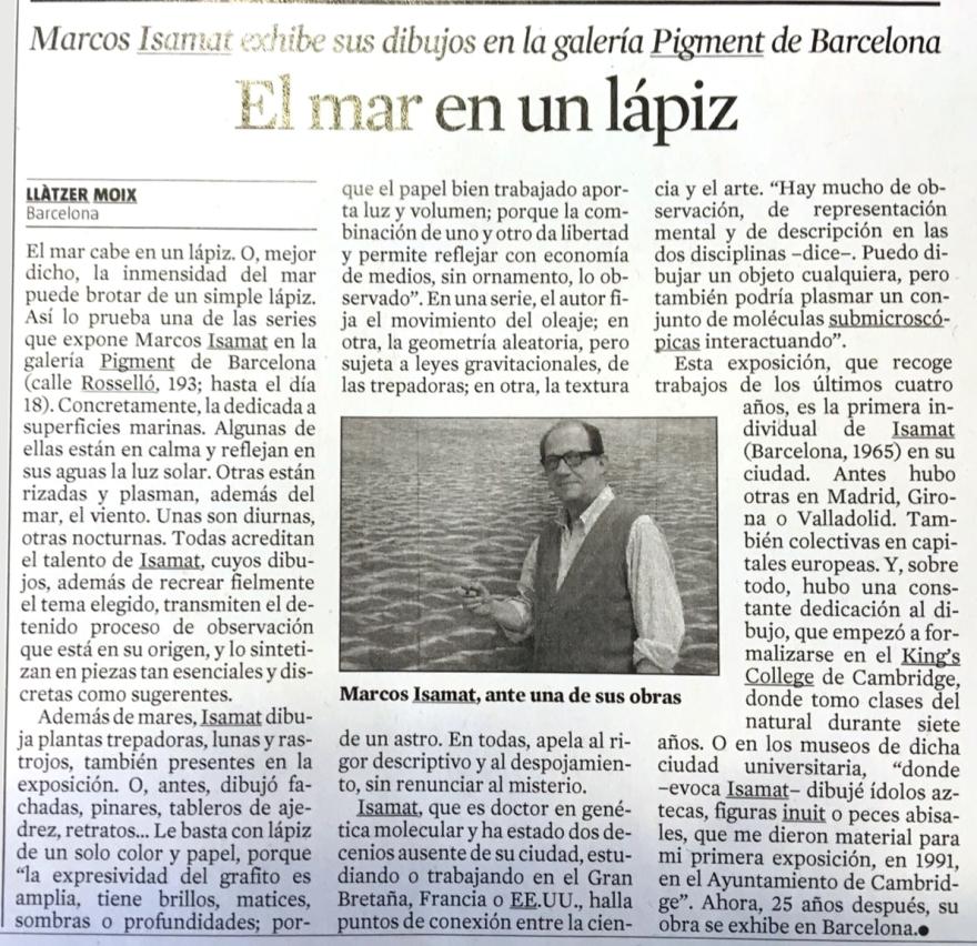 Recorte de prensa sobre Marcos Isamat en el periódico La Vanguardia